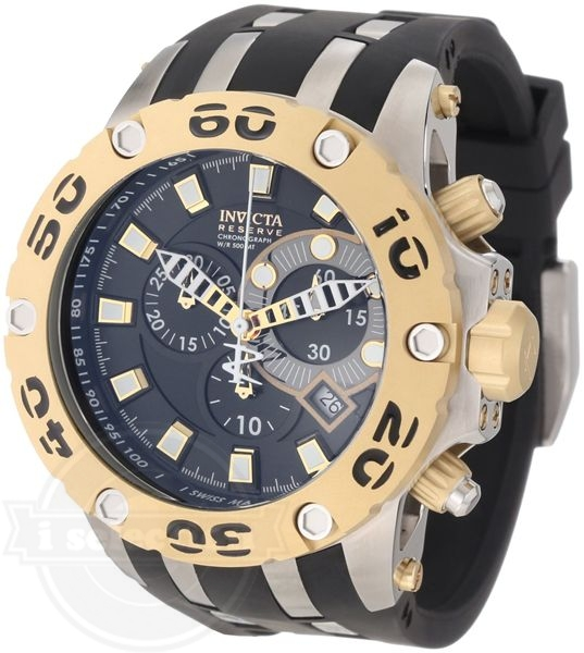 【Invicta インビクタ メンズ 腕時計 0908 Subaqua Reserve Chronograph Black Dial Black Polyurethane Watch】