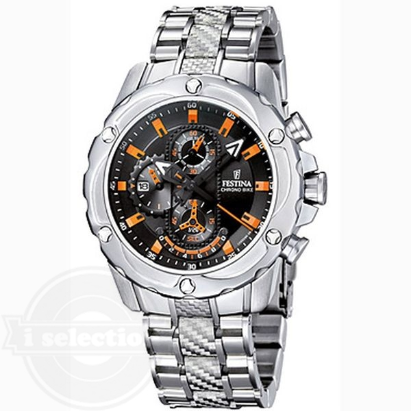 【Festina フェスティナ メンズ 腕時計 Crono F16525/5 Silver Stainless-Steel Quartz Watch with Black Dial】
