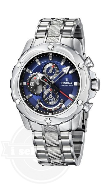 【Festina フェスティナ メンズ 腕時計 Crono F16525/4 Silver Stainless-Steel Quartz Watch with Blue Dial】