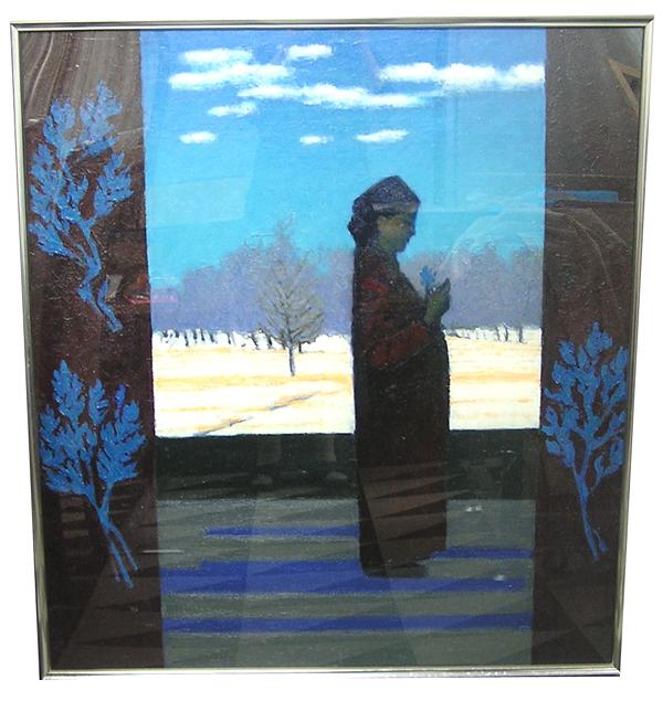【モンゴル民芸品 絵画】ブーケを持った花嫁