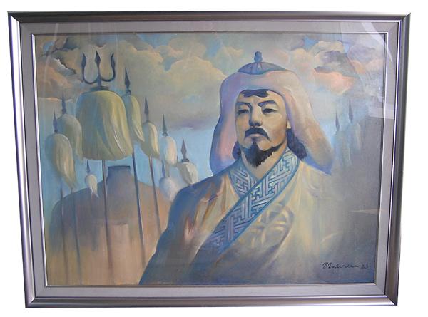 【モンゴル民芸品 絵画】チンギス
