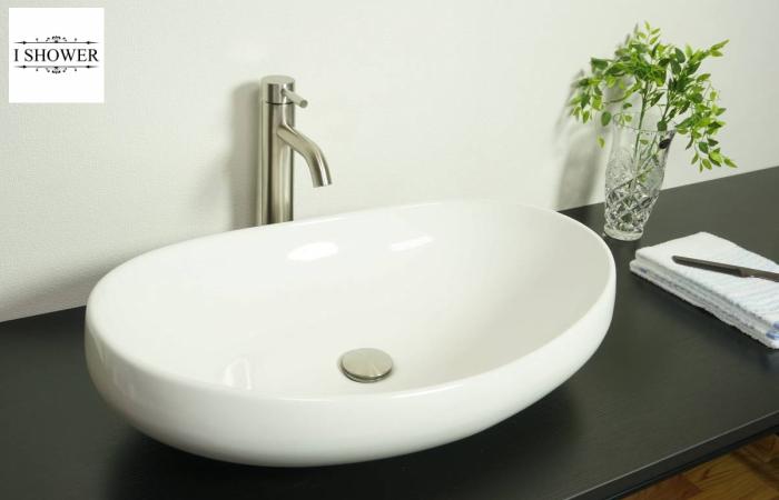 【洗面器 8404】お買得4点セット/洗面ボウル+水栓(蛇口)+排水栓+選べる排水トラップ(S床/P壁)