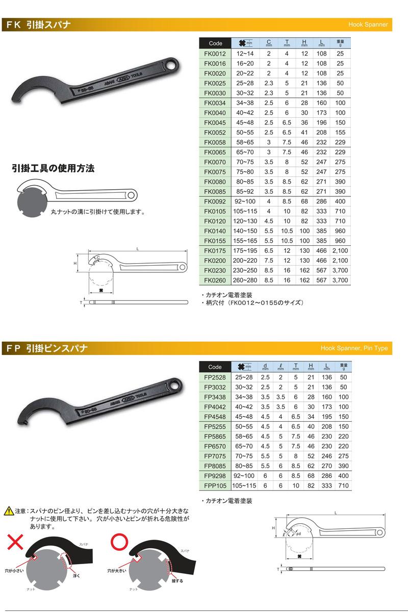 钩扳手 30-32 毫米直径灰 FK0030 (朝日) 朝日金属工业