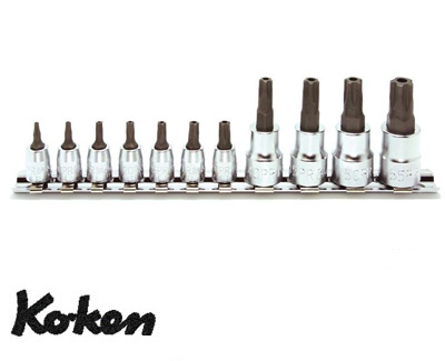Ko-ken RSX025/11-IPR イジリ止め トルクスプラス ビットソケット レールセット 11ヶ組 純正透明収納ケース付 コーケン / 山下工研