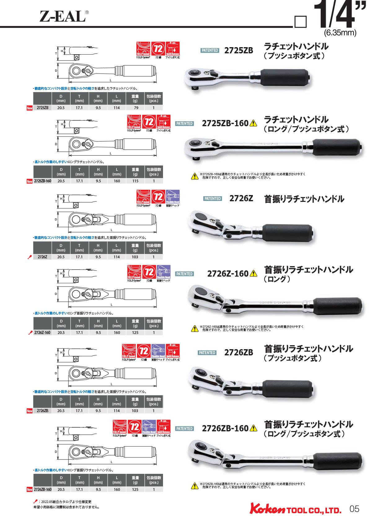 """柯肯 2300MZ-14 Z 宝莲 1 / 4""""(6.35 mm) 深插入六角形插座 14 毫米 Koken (Koken / 山下大学)"""