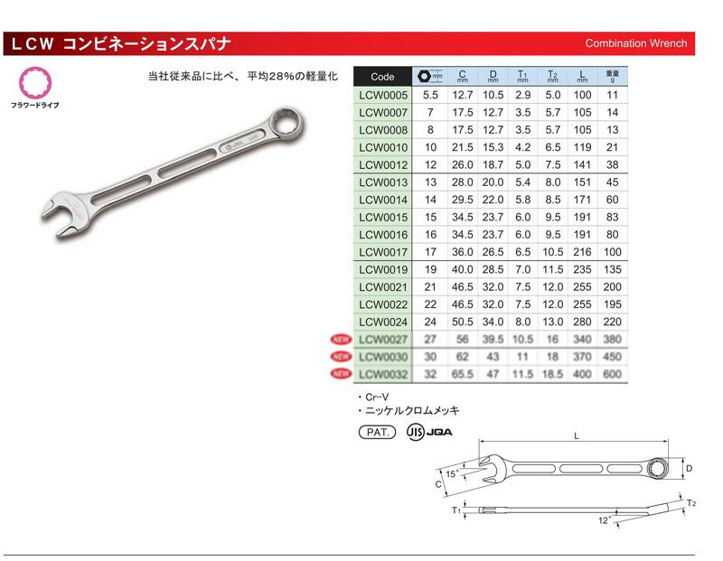 ASAHI Super Lightweight Lightool Combination Wrench 14 Pcs Set
