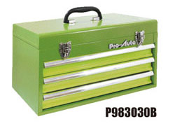 Pro-Auto P983030G 3段ポータブルツールボックス (緑) ベアリング式 (P303シリーズ)プロオート SEK SUEKAGE スエカゲツール