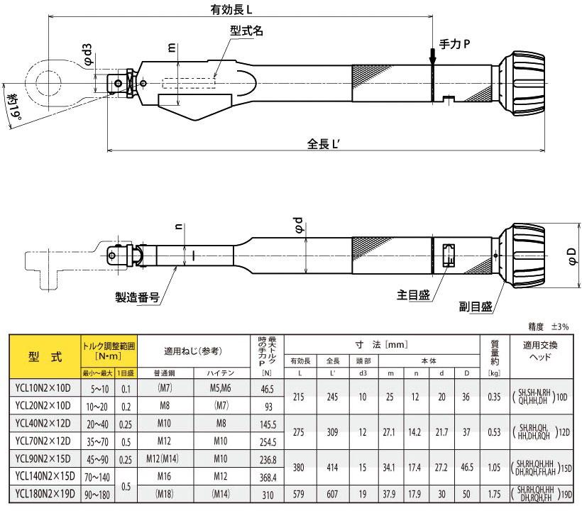 在转矩预防头可互换的插件,YCL10N2X10D,扭矩扳手 5 10N.m(diameter 10 D) 东日东日东 /