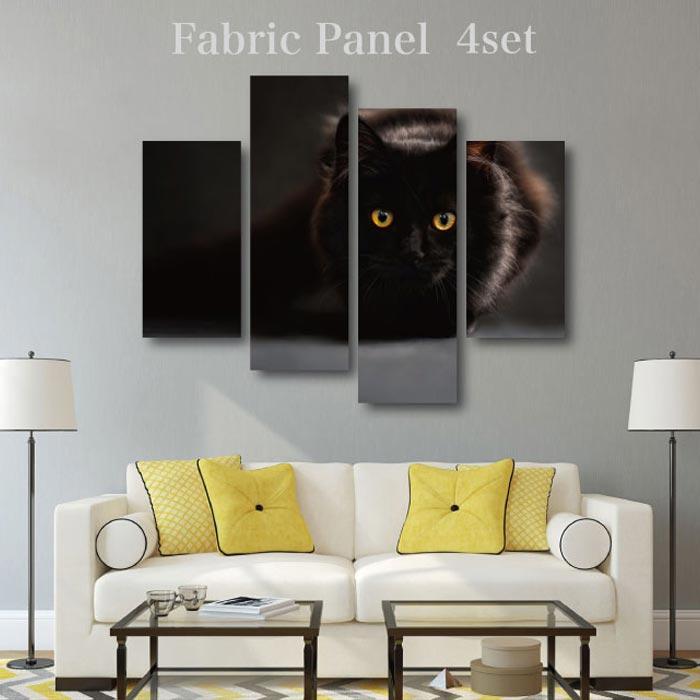 【可愛い猫のファブリックパネル 4枚セット販売】 12デザイン 猫 CATS フォト 木工 布プリント 取り付け部材付き【サイズ 130cm x 100cm 】
