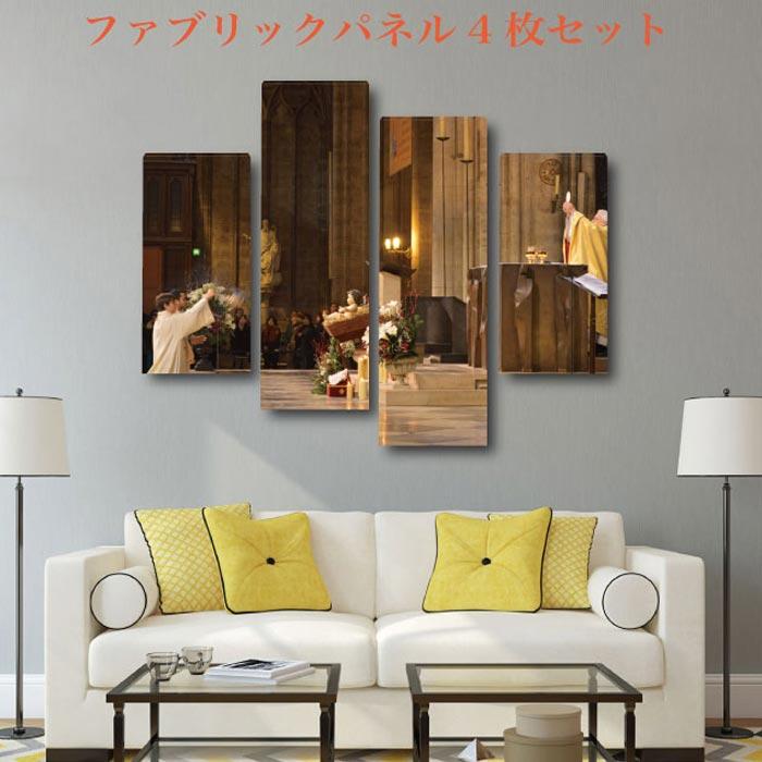 ファブリック パネル 【4枚セット】 パリ PARIS 12デザイン 木工 布プリント 取り付け部材付き【サイズ 130cm x 100cm 】