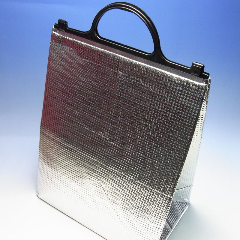 アルミ手提げ角底保冷袋(大) 325×200×410mm(100枚) 保冷バッグ【大型商品のため代引および時間指定不可】【北海道/沖縄/離島は別途「大型商品特別送料」がかかります】