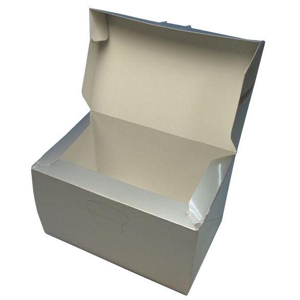 ケーキ箱 ロックBOX105 定番の人気シリーズPOINT(ポイント)入荷 シルバー おすすめ 3.5×5 105mm×150mm×105mm高 300枚 ロックボックス パッケージ中澤