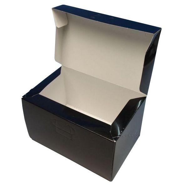 ケーキ箱 ロックBOX105 ブラック 4×6(300枚)120mm×180mm×105mm ロックボックス パッケージ中澤
