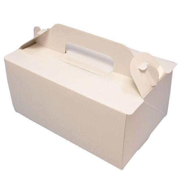 ケーキ箱 OPL プレス 6×8(200枚) 180×240×90mm 表面光沢加工ホワイト 手提げサイドオープン式 パッケージ中澤