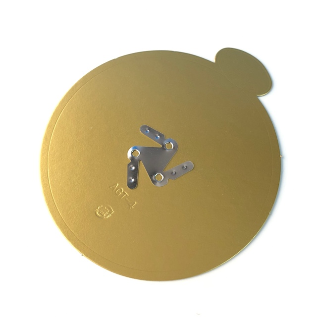 【受注生産】AGT-M ケーキトレー 6寸 φ209(100枚×2箱=200枚) 三ツ目金具付き 紙製金色 デコトレー パッケージ中澤
