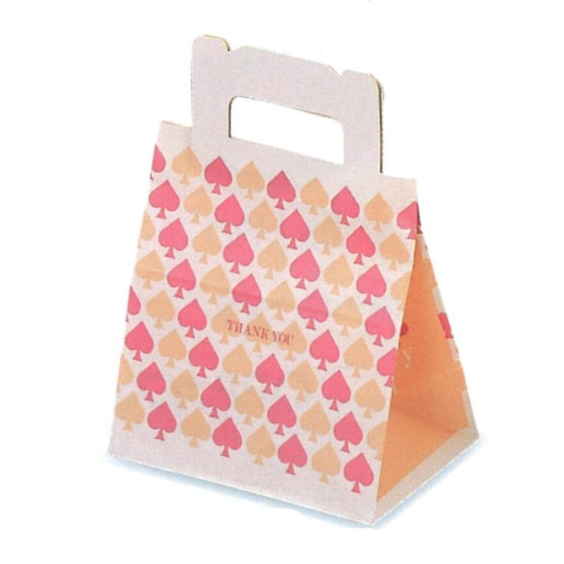 ショート袋 スペード(小)(800枚)底板紙付き 87×148×150mm ケーキ和菓子用 手提げ袋 パッケージ中澤