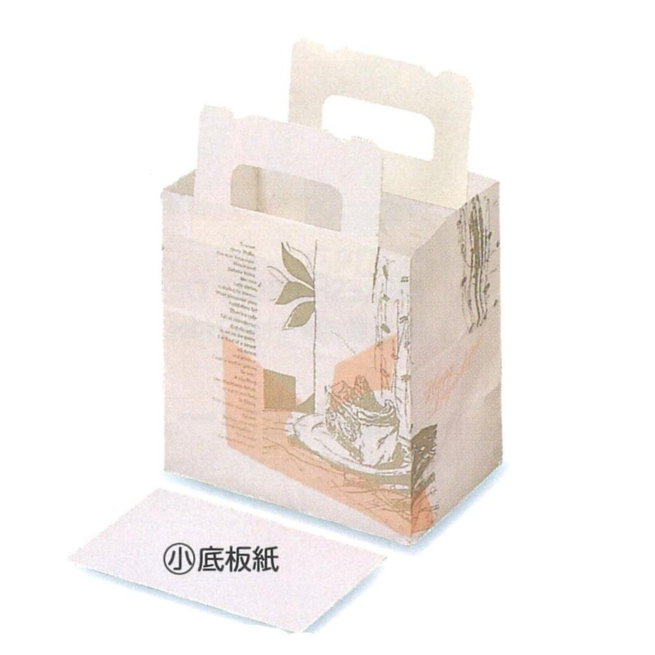 ショート袋 コラージュ(小)(800枚)底板紙付き 87×148×150mm ケーキ和菓子用 手提げ袋 パッケージ中澤