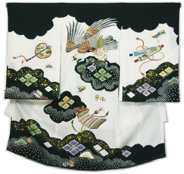 お宮参り男の子初着 刺繍柄桶絞り加工 白地の色地に鷹刺繍柄と桶絞り染め加工 5つ紋入れサービス 仕立上り 下着付 日本製 送料無料