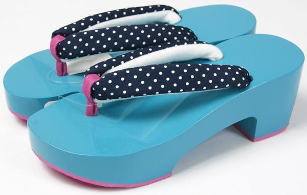 女性浴衣用 水色カラー下駄 24cm・25cm2サイズ 左右非対称台座に柄鼻緒 底ゴムで、歩きやすい特殊鼻緒 ヒール型ゲタ 和装小物 送料無料