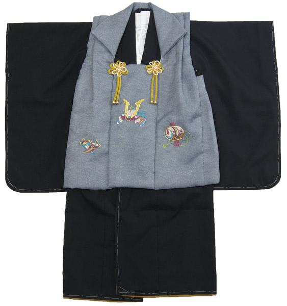 男の子用被布セット3才から4才用 黒色着物/灰色被布 兜刺繍柄 仕立て上がり品 ポリエステル 送料無料