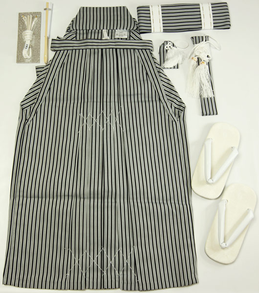七五三男の子袴セット 黒縞/濃紺縞 五歳用 男児 化繊 子供着物 送料無料