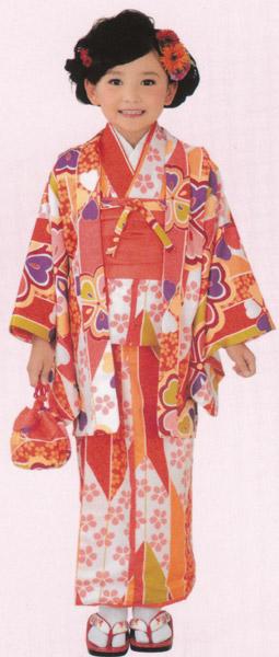 子供着物 アンサンブル オレンジ系羽織/着物 3~4才用 洗えるポリエステル 着物、羽織、襦袢、帯、草履、巾着の仕立て上がりセット 送料無料