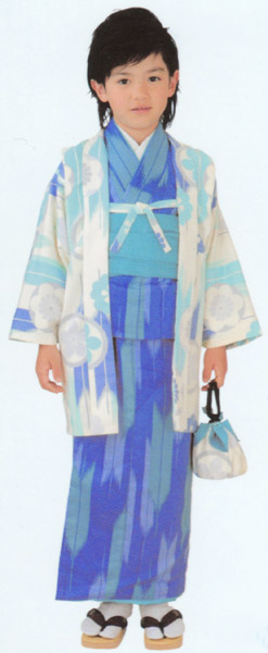 子供着物 男児アンサンブル 5~6才用 白地に青色柄羽織/青色着物 洗える着物、襦袢、帯、雪駄、巾着仕立て上がりセット 送料無料