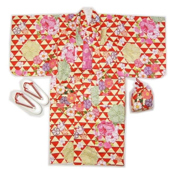 子供着物羽織のアンサンブル赤色羽織着物7~8才用・9~10才用洗えるポリエステルの着物、羽織、襦袢、帯、草履、巾着の仕立て上がりフルセットで送料無料