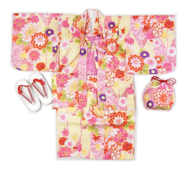 子供着物羽織のアンサンブル黄色羽織着物3~4才用・5~6才用洗えるポリエステルの着物、羽織、襦袢、帯、草履、巾着の仕立て上がりフルセットで送料無料