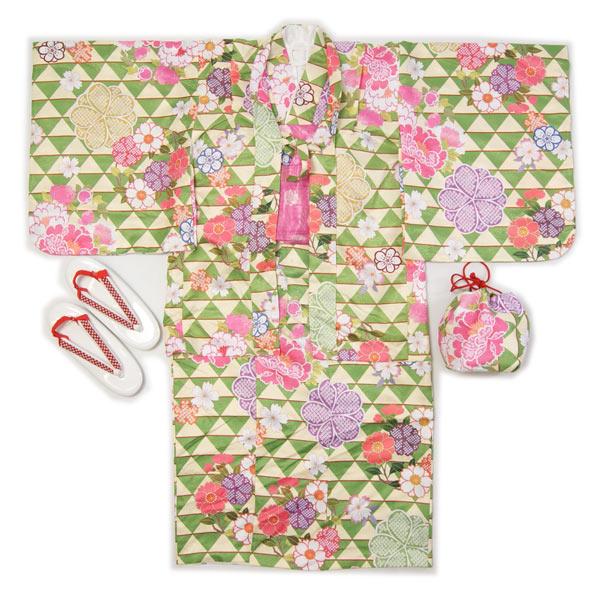 子供着物羽織のアンサンブル黄緑色羽織着物7~8才用・9~10才用洗えるポリエステルの着物、羽織、襦袢、帯、草履、巾着の仕立て上がりフルセットで送料無料
