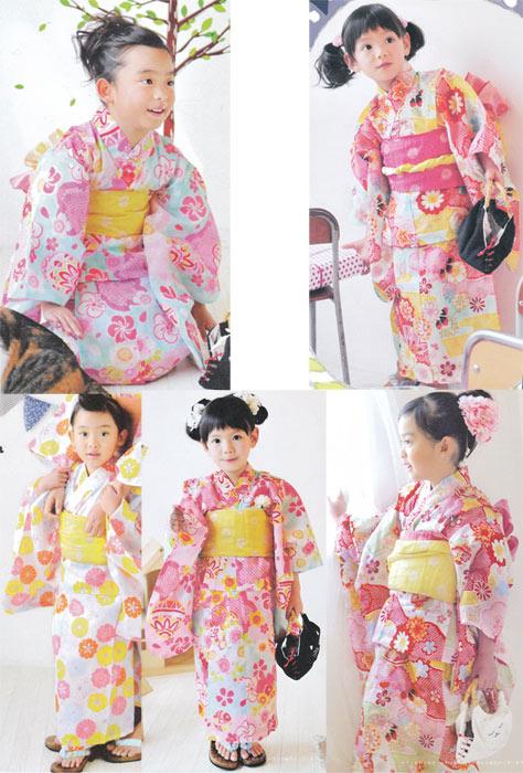 子供ゆかた仕立上がり品 女の子用5柄 11-12才用140cmサイズ綿・麻混で涼しい ブランドジュニア浴衣