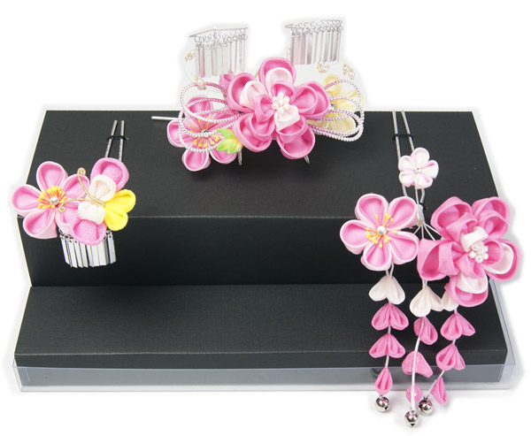 子供髪飾り リボン ピンク系 ビラ付 大小三点セット大きめ 七五三着物向き和装小物 送料無料