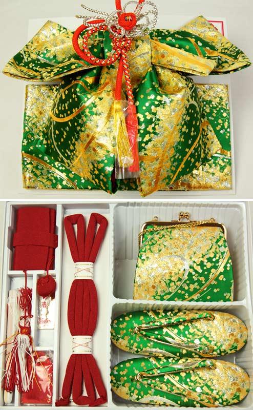 子供着物七五三結び帯ペアセット グリーン(緑)地帯・ハコセコ サイズ大(7才用) ジュニア用帯 送料無料
