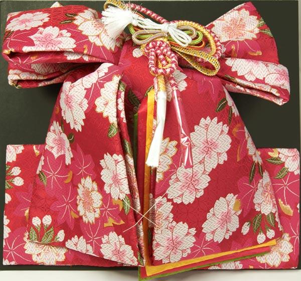 七五三用結び帯ハコセコセット 赤色 花柄 ポリエステル 女の子四ッ身七歳用帯セット 子供帯 日本製 送料無料2P13oct13_a
