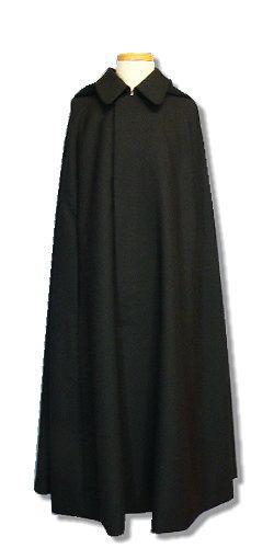 ウール生地 紳士マント 和洋兼用 フード脱着可能 黒 金田一・ジェダイマント風 メンズアウター 日本製【送料無料】