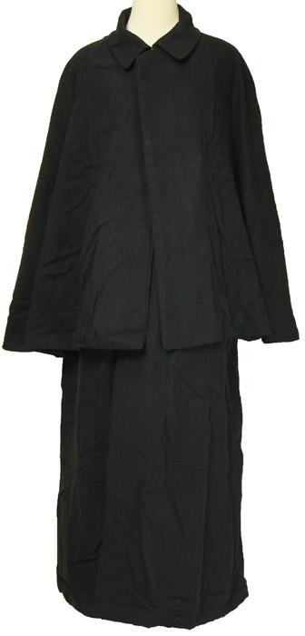 紳士とんびマント 黒色綿生地 着物、作務衣用 和洋兼用 カジュアルメンズアウター 送料無料