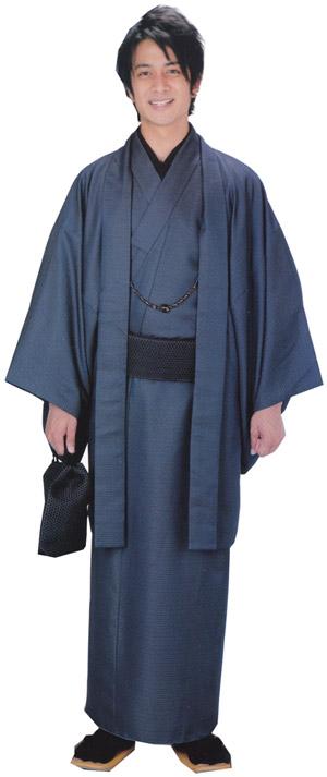 男物着物フルセット M/Lサイズ 紺系亀甲柄アンサンブル仕立上りプレタすぐ着用可能、襦袢、帯、羽織紐、巾着 家庭で洗える H・L紳士きもの 送料無料