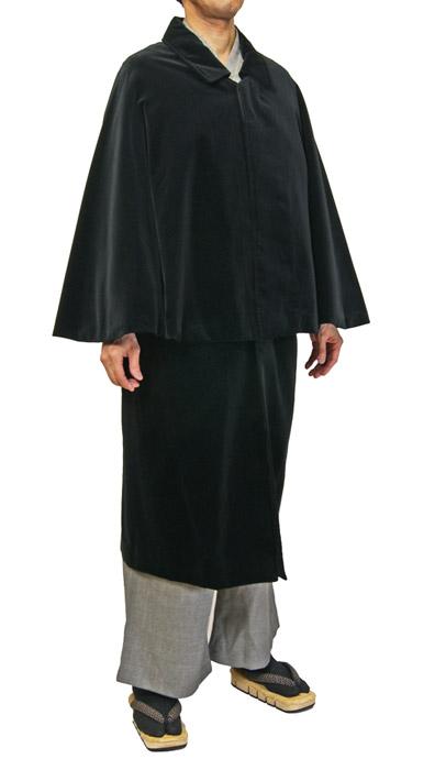 紳士ベルベット生地とんびマント 黒色インパネコート 着物、作務衣用 和洋兼用 カジュアルメンズアウター日本製 送料無料