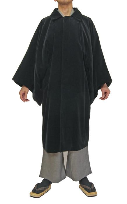 紳士黒色ベルベット生地 着物コート 着物、作務衣用 和洋兼用 カジュアルメンズアウター日本製 送料無料