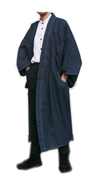 男性デニムロング和装コート インディゴ無地 M L LLサイズ ステッチ入り ジーンズメンズ 仕立て上がり既製品紳士物E9DHIW2Y