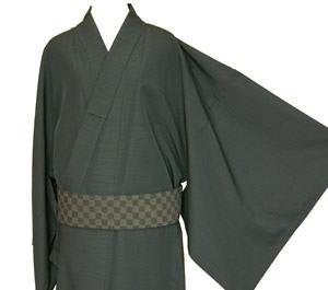 男物着物 シワ加工つ綿紬 誂え 9色から選べるオーダー 単仕立付 洗えます メンズきもの【送料無料】