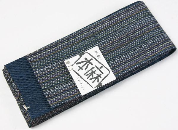 本麻の夏用角帯 紺色地に多色縞柄/紺色 袷仕立 麻100% 男物着物 メンズ着物、浴衣に物和装小物 日本製 送料無料