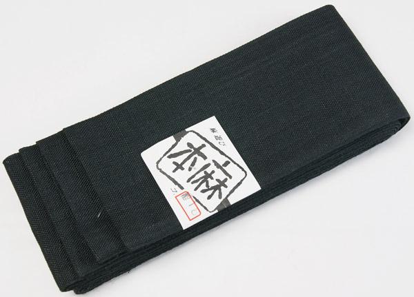 本麻の夏用角帯 黒色無地 袷仕立 麻100% 男物着物 メンズ着物、浴衣に物和装小物 日本製 送料無料