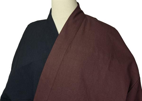 デザイン作務衣 秋冬用 上着2色染分け(黒/小豆色)パンツ黒 M/L/LL 綿 お洒落和雑貨