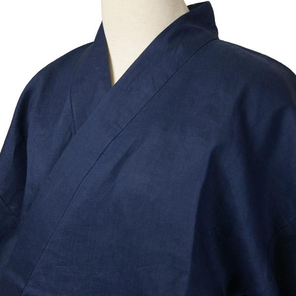 夏用本麻作務衣 紺色 麻100%生地 S・L・LL 男女兼用 リネンカジュアル和雑貨