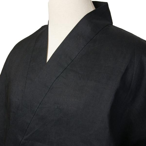 夏用本麻作務衣 黒色 麻100%生地 S・M・L・LL 男女兼用 リネンカジュアル和雑貨