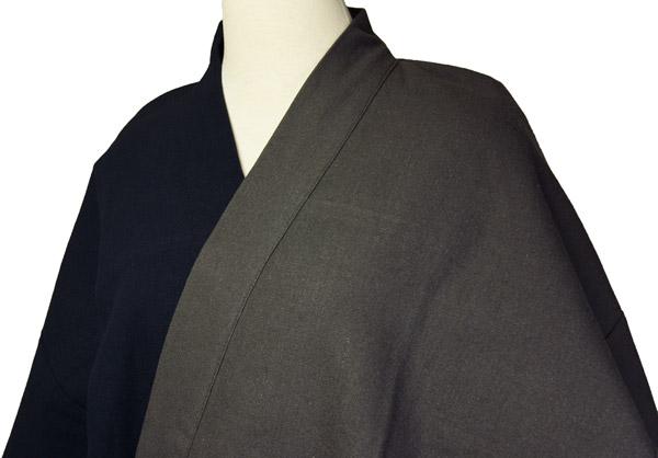 デザイン作務衣 秋冬用 上着2色染分け(黒/灰黒)パンツ黒 M/L/LL 綿 お洒落和雑貨