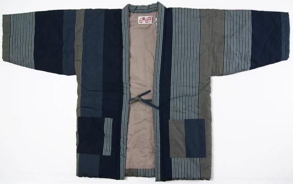 防寒用半天 先染め綿織物紬 縞柄 Lサイズ 綿入り半纏 久留米手作り袢天  日本製 送料無料