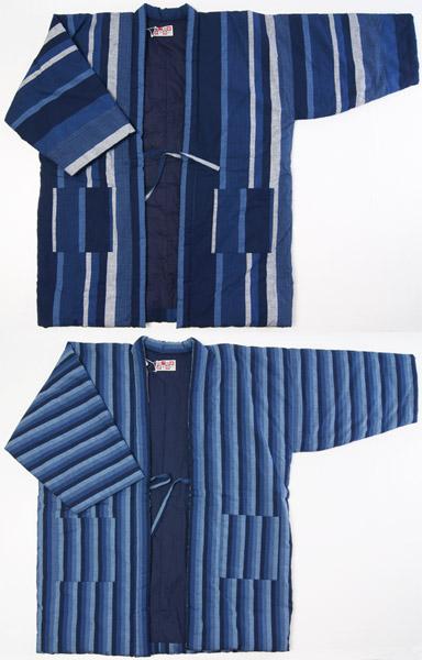 紳士防寒用 3Lサイズ(超特大、肥満、外国人向け)久留米半天ビックサイズ 紺色縞柄綿紬 絣手作り 半纏 久留米袢天 日本製 送料無料