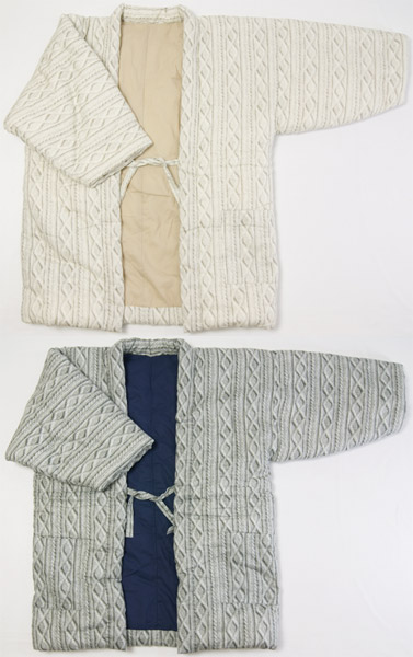 防寒用半天 セーター立体柄 ホワイト/グレー 手作り袢天 フリーサイズ男女兼用 綿入り半纏 久留米袢天 日本製 送料無料